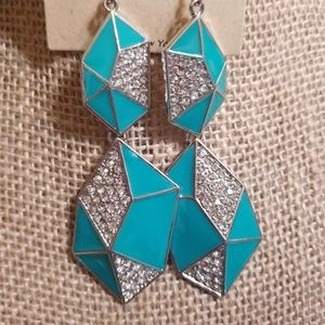 ASYMETRICAL Torqoise enamel and crystal earrings